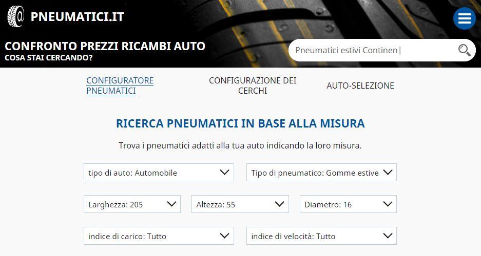 screenshot sito pneumatici.it