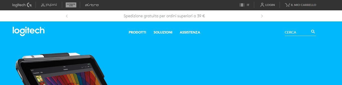 Home page negozio Logitech