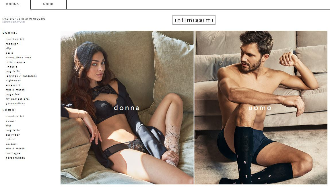 Home page Intimissimi on line