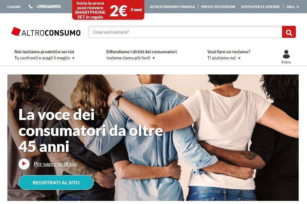 Home page sito Altroconsumo