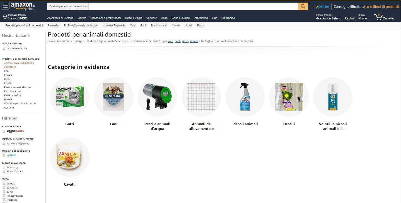 Sezione animali domestici di Amazon