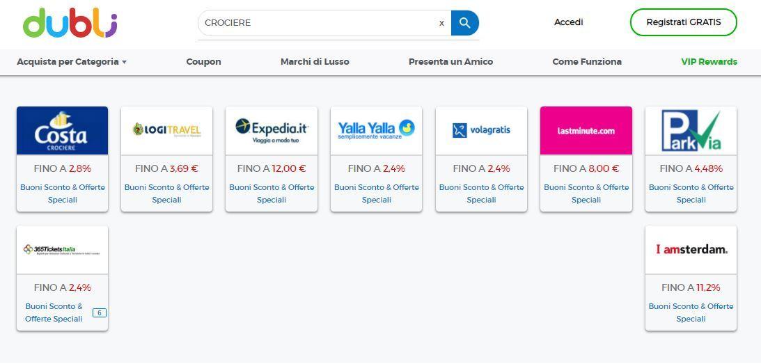 Screenshot siti di prenotazione crociera con cashback