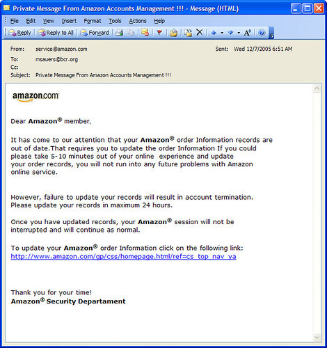 Screenshot phishing Amazon