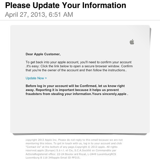 Screenshot phishing su Apple
