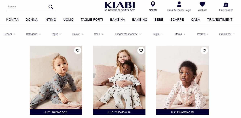 Sezione neonato sito abbigliamento Kiabi