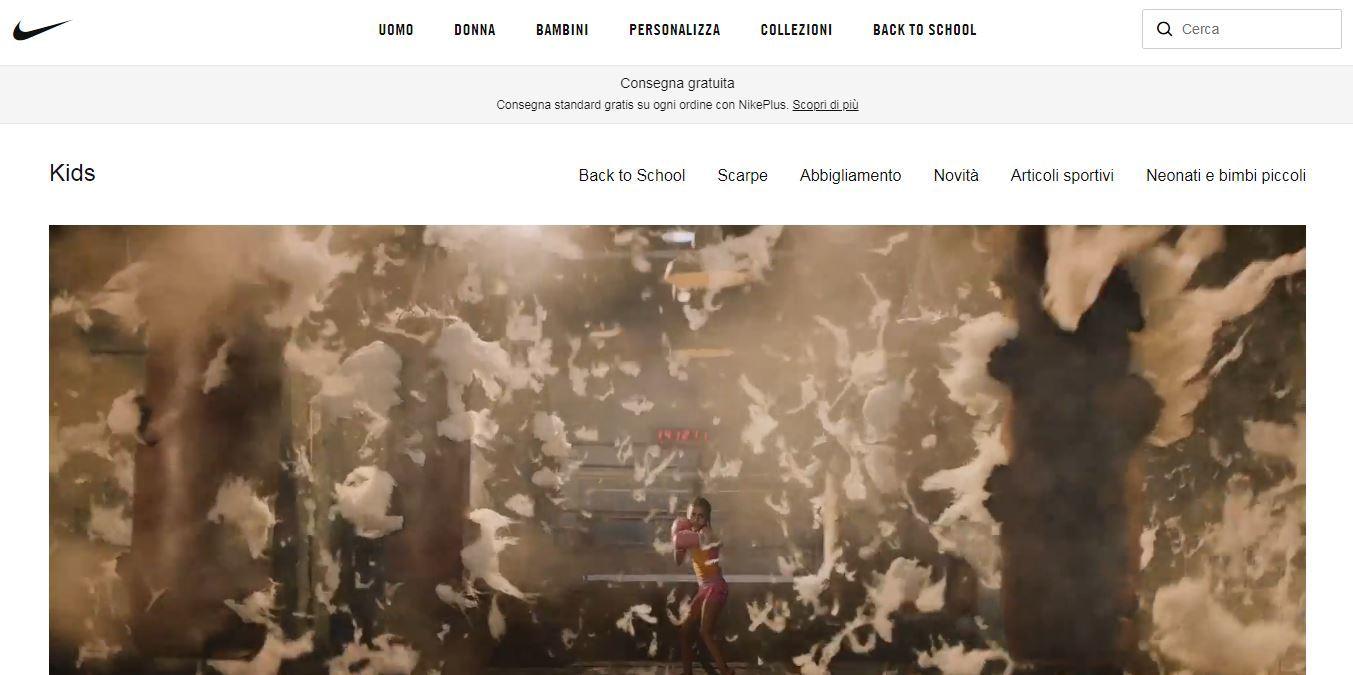 Sezione bambini sito Nike