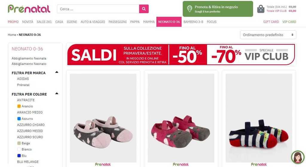 Homepage sito abbigliamento Prénatal