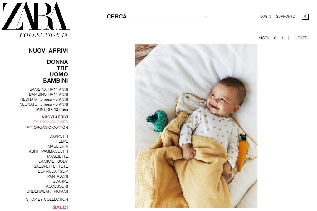 Sito di Zara, sezione abbigliamento neonato