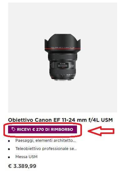 Screenshot cashback obiettivo Canon
