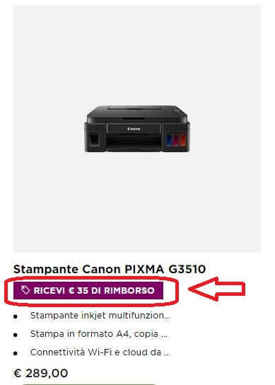 Screenshot cashback stampante Canon