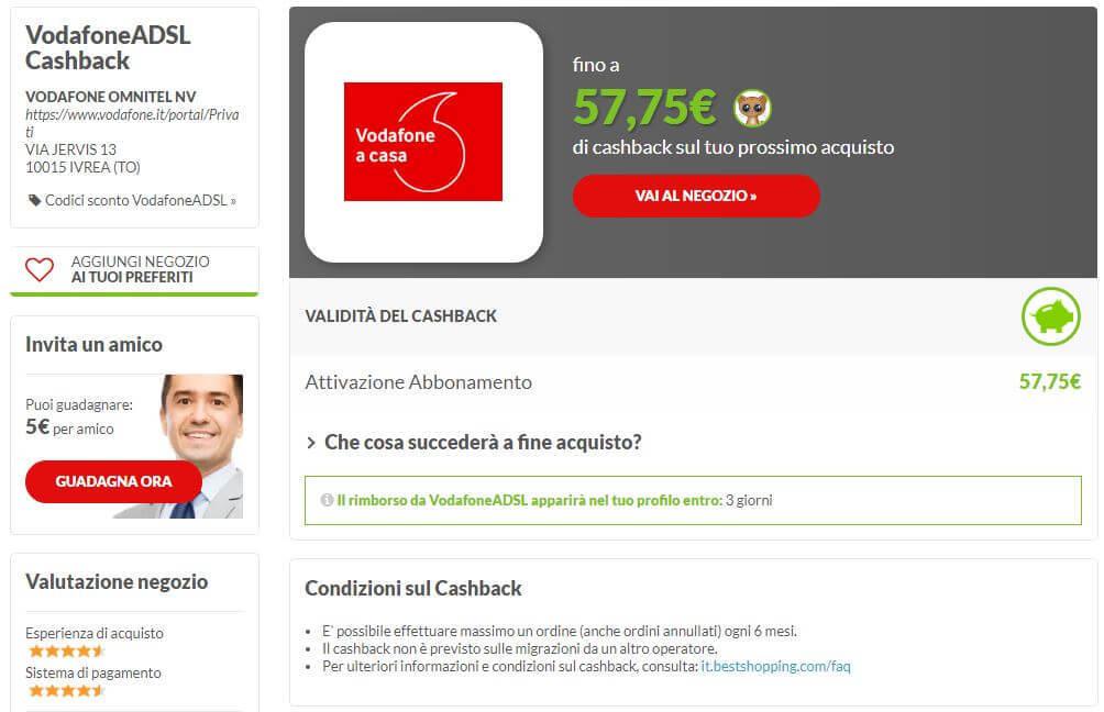 Cashback Vodafone su Bestshopping