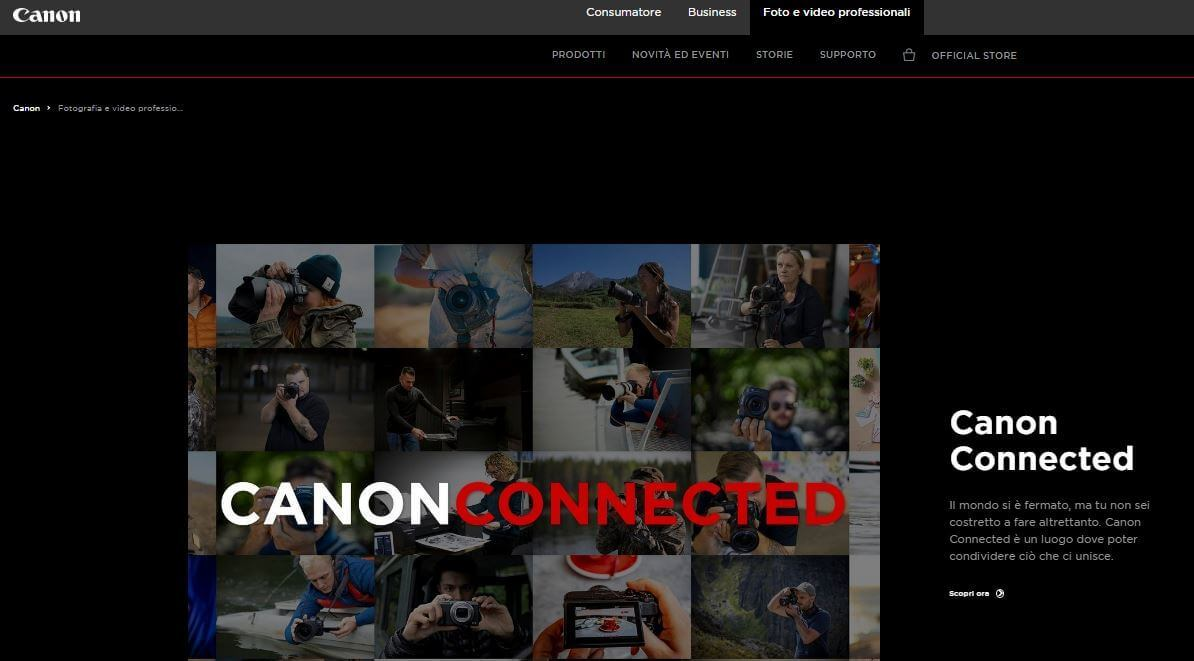 Screenshot homepage sito Canon