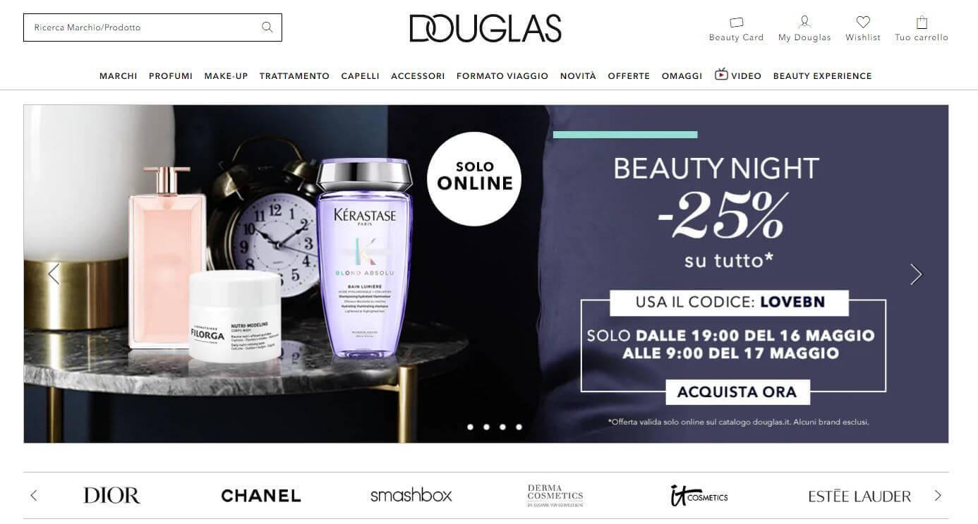 Screenshot sito Profumeria Douglas
