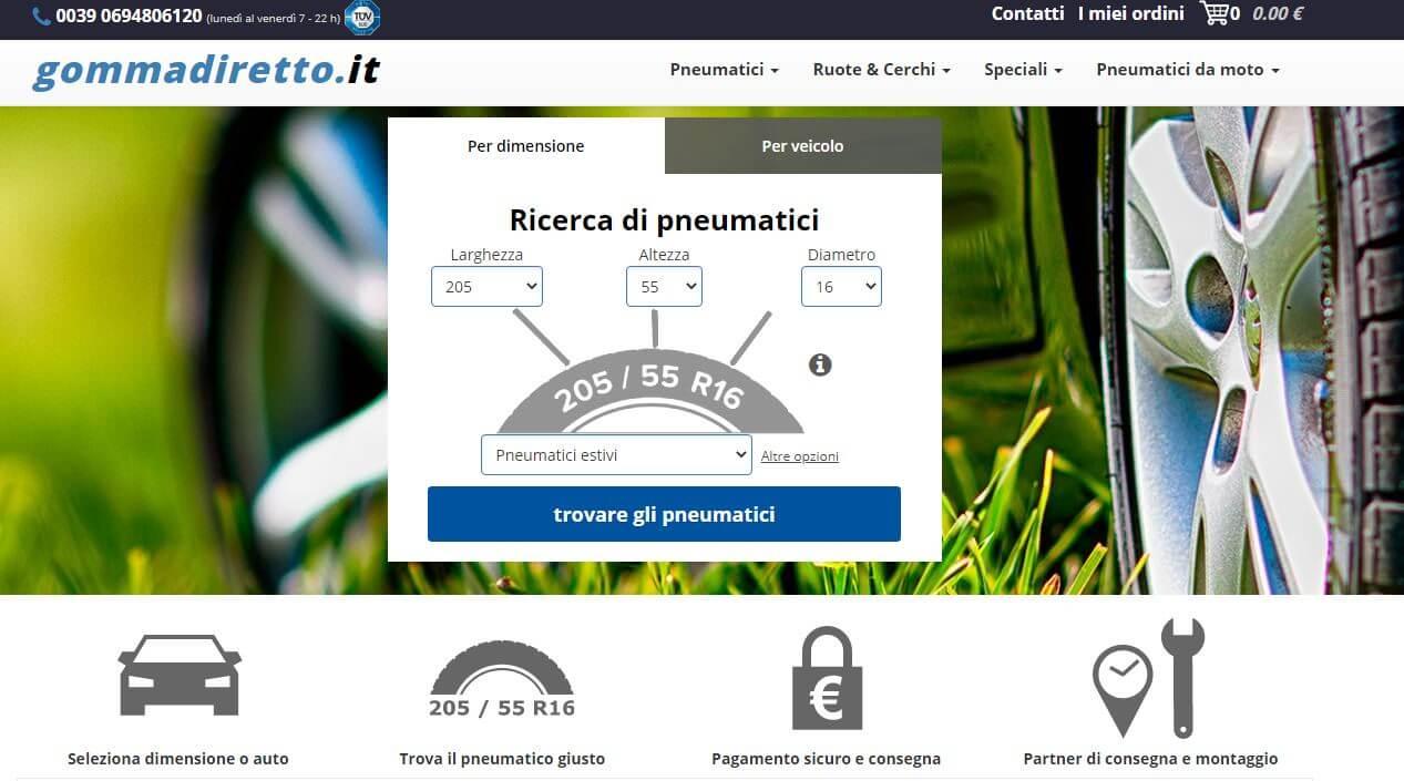 Screenshot sito Gommadiretto