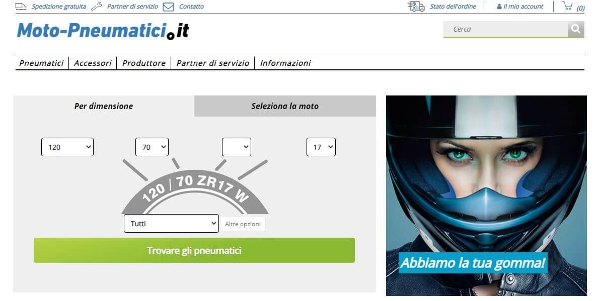 Screenshot sito Moto-pneumatici